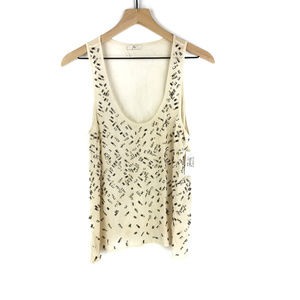 NWT Joie Cream Sheer Embellished Tank Top Sz S